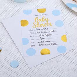 10 invitations Baby Shower pois bleus et dorés avec enveloppes blanches