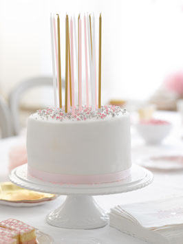 16 longues bougies anniversaire roses, dorées, blanches