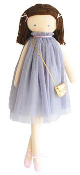 Poupée en tissu avec tutu gris, cheveux en laine et petit sac doré Alimrose 64cms