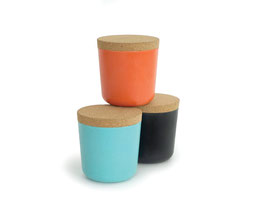 Set de 3 pots Gusto by Biobu variante turquoise/orange/noir