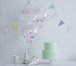 5 ballons transparents avec confettis de couleur à l'intérieur