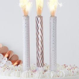 3 bougies fontaines pour gâteau rose gold et blanc