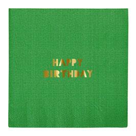 16 serviettes multicolores avec écriture dorée Happy Birthday Meri Meri