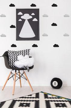 Stickers muraux nuages noirs argent Pom le bonhomme