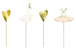 4 Cake Toppers Cygne, Coeurs, Danseuse