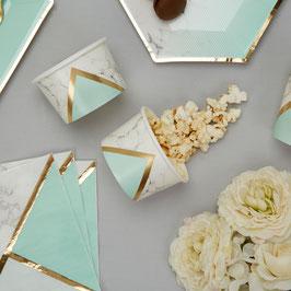 8 coupes effet marbre, vert menthe et or