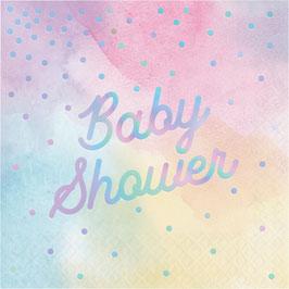 16 Grandes Serviettes Pastels Baby Shower Irisé