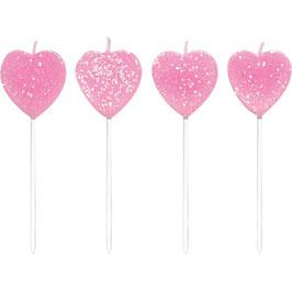 10 Bougies anniversaire coeur rose pailleté