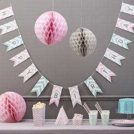 "Guirlande décorative drapeaux "" Happy birthday"" thème pastel chevron"