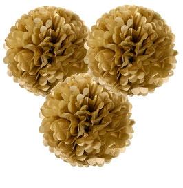 3 grands pompons en papier de soie doré diamètre 38cms