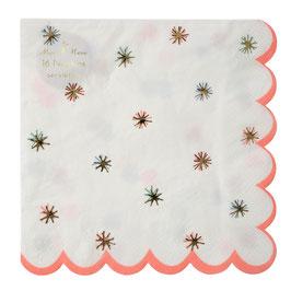 16 serviettes étoiles colorées et or Meri Meri