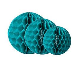 3 boules alvéolées en papier de soie émeraude 25cms/20cms/15cms