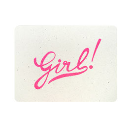 "Carte ""Girl !"" paillettes rose fluo"