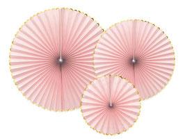 3 rosaces rose pastel bordure dorée