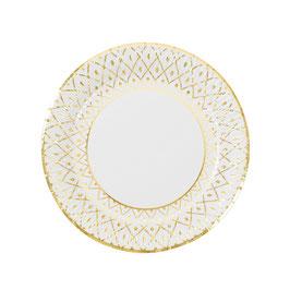 8 Grandes assiettes avec bord blanc et or motif porcelaine