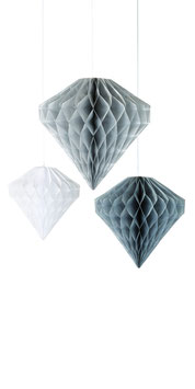 3 Suspensions diamant en papier alvéolé grises et blanches