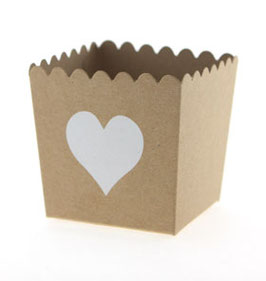 6 Petits pots couleur kraft avec coeurs blancs pour bonbons ou friandises