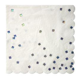16 serviettes plumetis carrés argent reflets holographiques