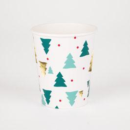 8 gobelets sapins de Noel