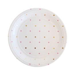 10 grandes assiettes fond blanc pois dorés et roses