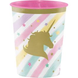 Verre en plastique épais rayures pastels et tête licorne dorée