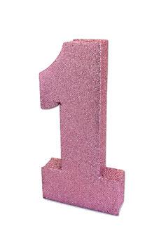 Centre de table chiffre 1 paillettes rose pastel