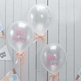 10 ballons ivoires nacrés écriture baby et motif éléphant