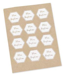 """24 Stickers """"Mon Baptême """" Blanc et Or"""