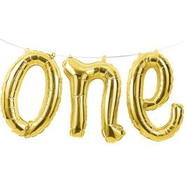 """Ballon métallique  mot """"One"""" Doré"""