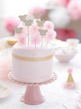 12 piques à gâteau pompons et robes en tulle