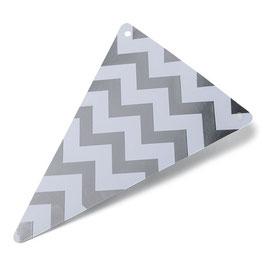 5 fanions triangles chevrons argent pour guirlande fanions