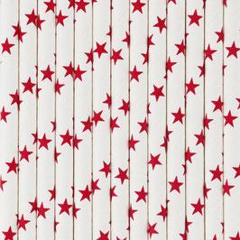 25 pailles en papier fond blanc étoiles rouges