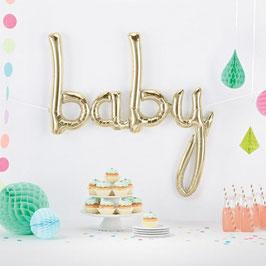 """Ballon métallique or blanc mot """"Baby"""""""