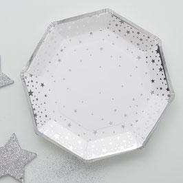 8 assiettes en carton fond blanc étoiles argent