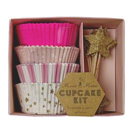 Set caissettes cupcakes roses et décoration piques étoiles or