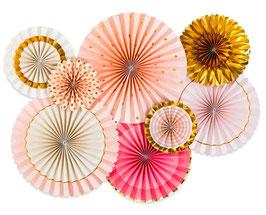 Kit de 8 Rosaces Roses, Blanches, Dorées