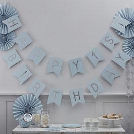 """Guirlande Anniversaire 1 an """"Happy 1st Birthday """" Bleu Argent"""