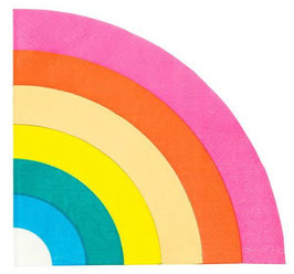 16 Serviettes Arc en Ciel Multicolore