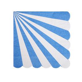 20 petites serviettes rayées bleu et blanc avec bordure arrondie Meri Meri
