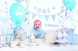 Kit anniversaire Garçon 1 an bleu et gris argent