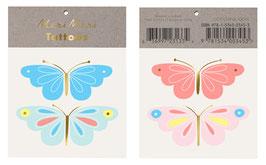 2 planches de tatouages papillons pastels meri meri