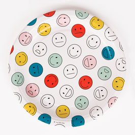 8 assiettes en carton motif Happy faces