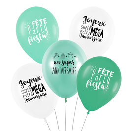 5 ballons anniversaire vert menthe et blancs