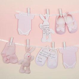 Guirlande livre d'or pour invités Baby Shower ou baptême rose