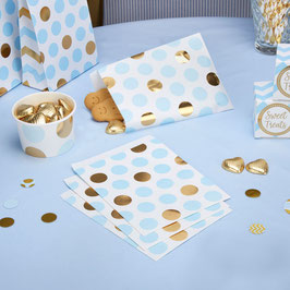 25 sachets en papier avec pois bleus et dorés