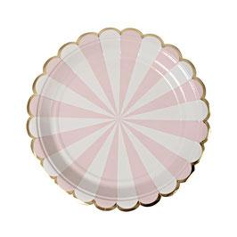 8 petites assiettes en carton rayures rose pastel et blanc meri meri