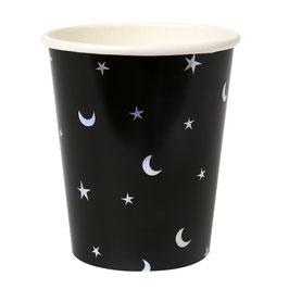 8 gobelets en carton avec étoiles et lune argent  Meri Meri