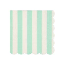20 petites serviettes rayures vert menthe et blanc meri meri