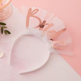 """Serre tête Evjf """"Bride"""" rose gold et tulle blanc"""