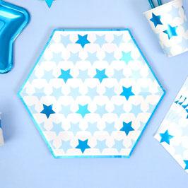 8 Grandes Assiettes Etoiles Bleues